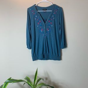 Lucky Brand Blue Embroidered Floral Peasant Blouse